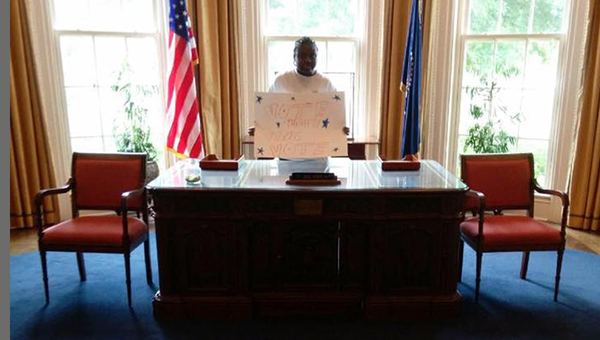 Courtesy photo Lyberti Bradley in the oval office.