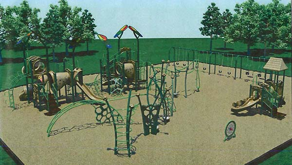 This conceptual drawing shows the layout of the new equipment at Dogwood Hills Park.