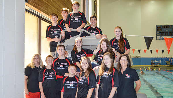 Corey Williams | The Brewton Standard The 2016 TRM swim team with coaches Angel Boyd (far-left) and Lisa Atkinson (far-right)
