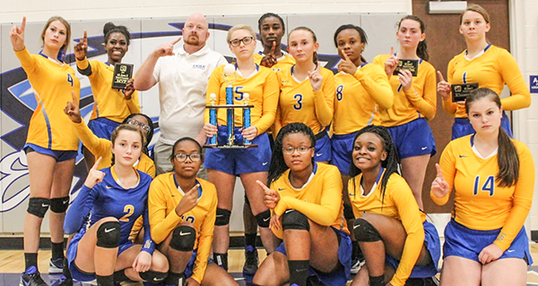photo by Wanda Waldrop The W.S. Neal volleyball team defeated Escambia County to win the Class 4A Region 1 title the past Tuesday.