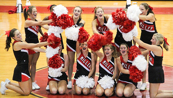 Courtesy photo The TRM cheer team performs at a pep rally earlier this year.