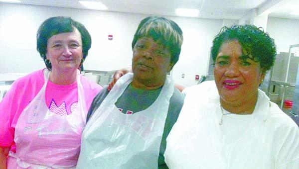 Lydia Grimes | The Brewton Standard Diane Byrd, Leola Shufford and Betty Nicholson work inside the BMS lunchroom.