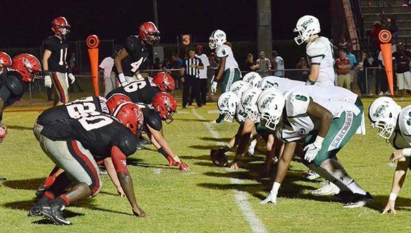 Corey Williams | The Brewton Standard The Miller defense lines up against Flomaton on Friday.