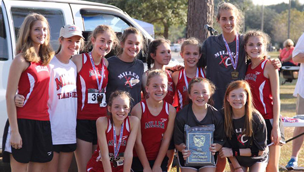 Courtesy photo The TRM girls cross country team earned first place in 3A sectionals on Thursday in Loxely.