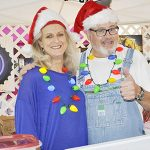 Stephanie Nelson | The Brewton Standard Keith Pugh of Keith's Dips and Such and Susie Collins were in the festive spirit as they worked the Choo Choo Market.