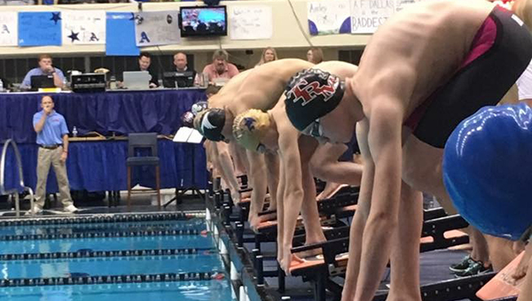 Courtesy photo TRM's Cole Jernigan gets ready to explode off the blocks at the state meet held at Auburn University this past weekend.