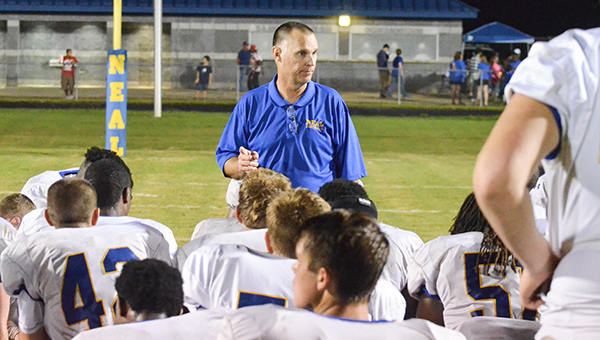 Corey Williams | The Brewton Standard WSN head coach Doug Hoehn speaks to the team after its preseason game versus Aliceville this past season.