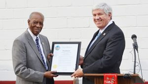 Corey Williams | The Brewton Standard Mayor Yank Lovelace presents Dr. Matthews with a proclamation for the day.