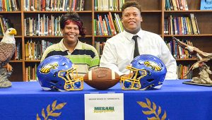 Corey Williams | The Brewton Standard Josh McMillan and his mother, Hollene Benson at the signing.